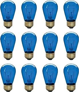 Incandescent S14 Edison Light Bulb, String Light Replacement, E26 Medium Base, 130V, Blue (12 Pack)