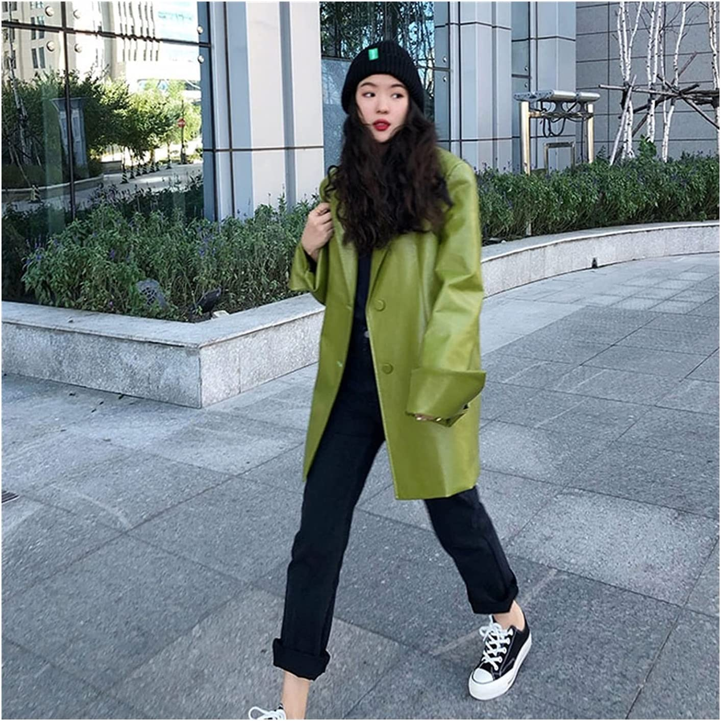 Loose Fit Solid Color Pu Leather Jacket Lapel Long Sleeve Women Coat Tide Spring Leather Coat (Color : Green, Size : S.)