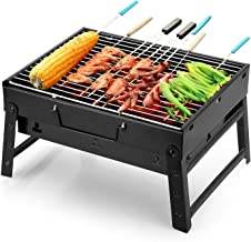 Uten Barbecue Grill Portable Lightweight Simple Charcoal Grill Perfect Foldable Premium BBQ Grill for Outdoor Campers Barbecue Lovers Travel Park Beach Wild etc.[Small, Black]