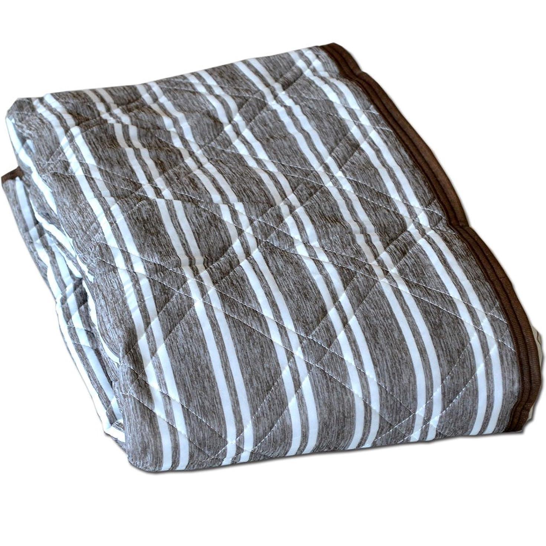 焼くスラッシュギャザー敷きパッド 接触冷感 ソフトクール ひんやり敷きパッド セミシングル 80×195cm (ブラウン)