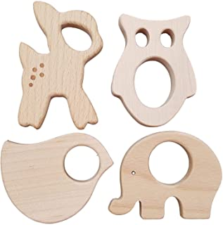11pcs Wooden Animal Bird Shape Baby Infant Handmade Natural Shower Teether