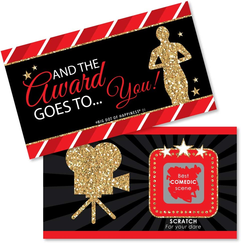 19. Red Carpet Hollywood - Movie Night Party Game Award Scratch Off Cards