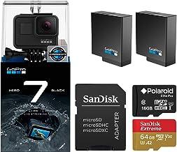 GoPro Hero 7 Black Edition with Two Extra GoPro USA Batteries + Sandisk Extreme 64GB MicroSD + Free Polaroid 16GB MicroSD ...