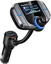 (Upgraded Version) Sumind Car Bluetooth FM Transmitter, Wireless Radio Adapter Hands-Free Kit with 1.7 Inch Display, QC3.0 and Smart 2.4A USB Ports, AUX Output, TF Card Mp3 Player(Silver Grey)