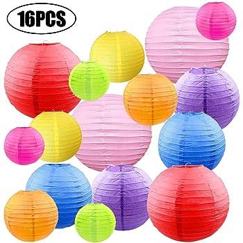 Doitsa 10pcs Lanterne D/écoration de Mariage Lampion Papier Ronde Lanterne Artisanale Bricolage pour Enfants 10 Couleurs M/élang/ées