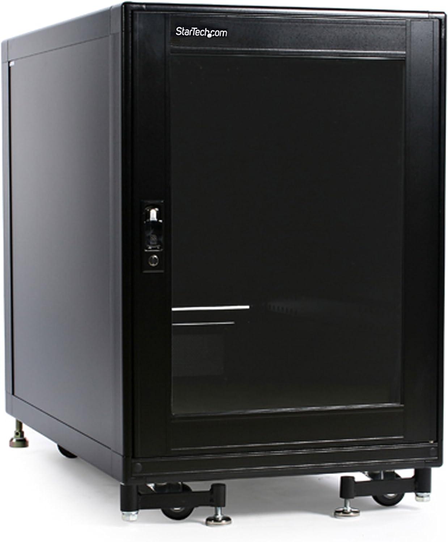 StarTech.com 15U Rack Enclosure Server Cabinet w/ Built-in Fans & Doors - 4 Post 36 in. Deep Solid Steel Network & Data Equipment Rack (2636CABINET),Black