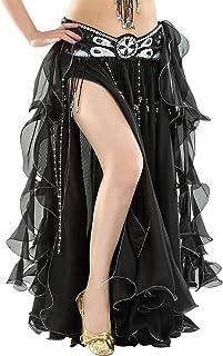 9d92cc611bf BELLYQUEEN Jupe Danse Orientale Longue Femme Costume Danse Classique Jupe  Double Fente sans Ceinture Jupe Danse