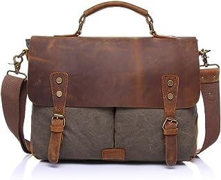 Men's Messenger Bag Official Document Canvas Bag Computer Shoulder Bag Retro with Crazy Horse Skin (Color : Gray, Size : M)