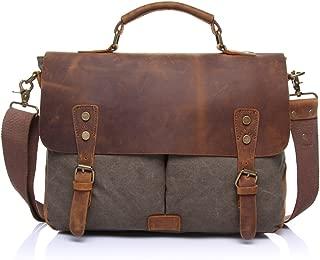 SGJFZD Men's Messenger Bag Shoulder Bag Retro with Crazy Horse Skin Official Document Canvas Bag Computer (Color : Gray, Size : M)