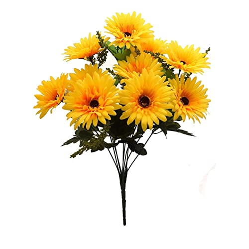 Fourwalls Beautiful Decorative Artificial Garabara Flower Bunches for Home décor (48 cm Tall, 10 Heads, Yellow)