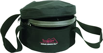 """Texsport 2 Quart (10"""") Dutch Oven Carry/Storage Bag - Rugged Waterproof Polyester, Sturdy Web Handles & Zippered Top Opening - Foam Padded for Maximum Protection & Storage, Black"""