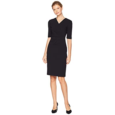 Tahari by ASL Short Sleeve Crepe Dress with Side Pleat Detail (Black) Women