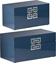 A&B Home Blue, Set of 3 Decorative Box, Set of 2 Dimensions: 11.5L x 11.5W x 6H Inches