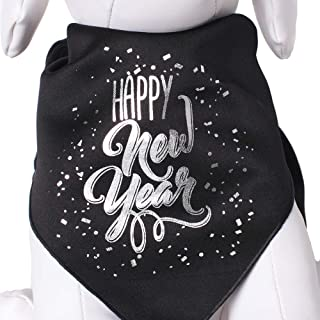 Tail Trends Happy New Year Dog Bandana for Medium to Large Sized Dogs - 100% Cotton