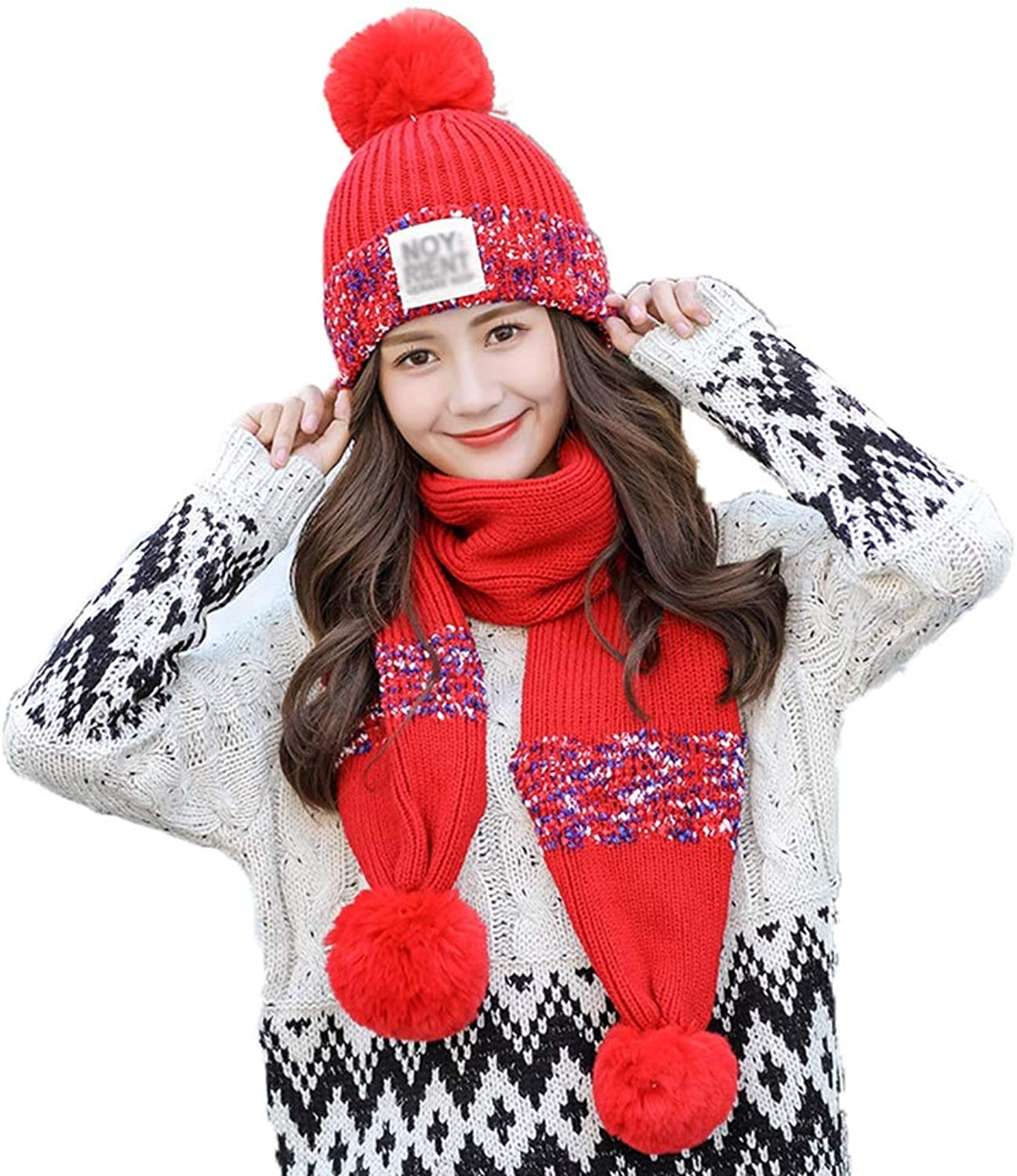 Beanie Hat, Winter Outdoor Beanie Fashion Sweet Cute Warm Knitted Hat (Hat + Scarf) (color   D)