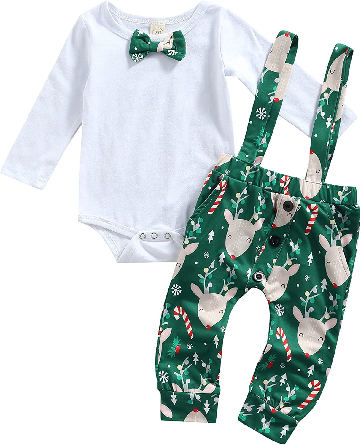 Newborn Baby Boy Christmas Outfits, Infant Long Sleeve Bowtie Romper Tops+Strap Pants Clothes Set