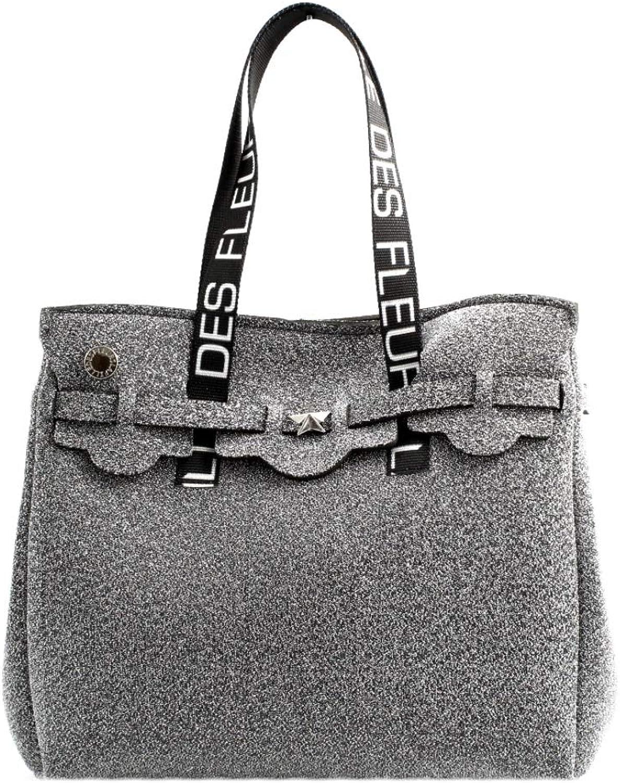 La fille des Fleurs , Damen Tote-Tasche Silber silber schwarz Einheitsgröße B07Q3ZDWDX