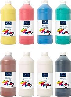 Lefranc Bourgeois - Gouache liquide pour enfants - Assortiment de 8 bouteilles de 1L