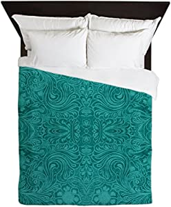 CafePress Blue-Green Suede Leather Look Embossed Floral Desi Queen Duvet Cover, Printed Comforter Cover, Unique Bedding, Microfiber