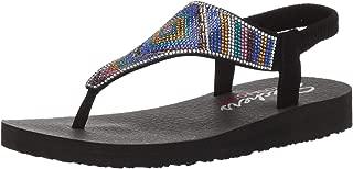 Women's Meditation-Gypsy Glam-Hooded Aztec Rhinestone Slingback Thong Flip-Flop