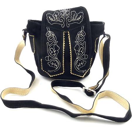 Trachtentasche Dirndltasche kleine Lederhosen-Tasche Umhängetasche Leder Schwarz