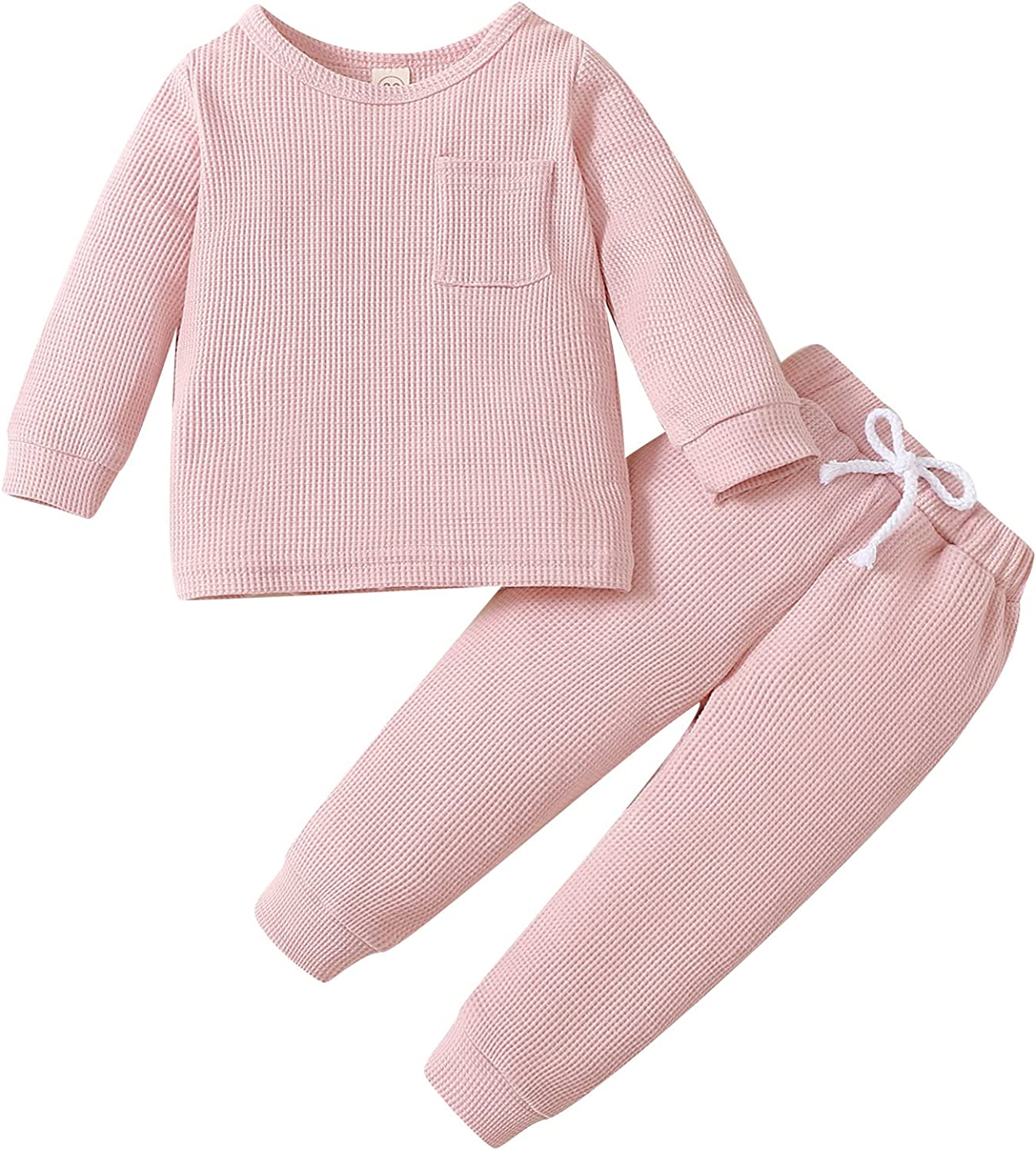 DBZoo Toddler Baby Boy Girl Unisex Clothes Sets Long Sleeve Crew Neck T-Shirt Tops and Pants Fall Winter Solid Outfits