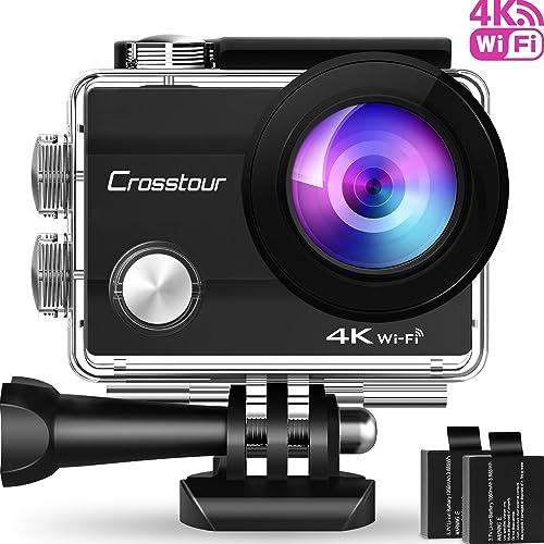 """Crosstour Caméra Sport 4K Wi-FI Ultra HD Étanche 2""""LCD 30M sous-Marine 170° Grand-Angle avec 2 Batteries Rechargeables 1050mAh et Kit d'Accessoires pour Cyclisme Natation Plongée"""