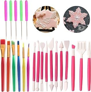 SBYURE 22 Pieces Cake Decorating Tool Set,Cookie Decoration Brushes Scriber Needles Sugar Stir Needle Double Head Fondant ...