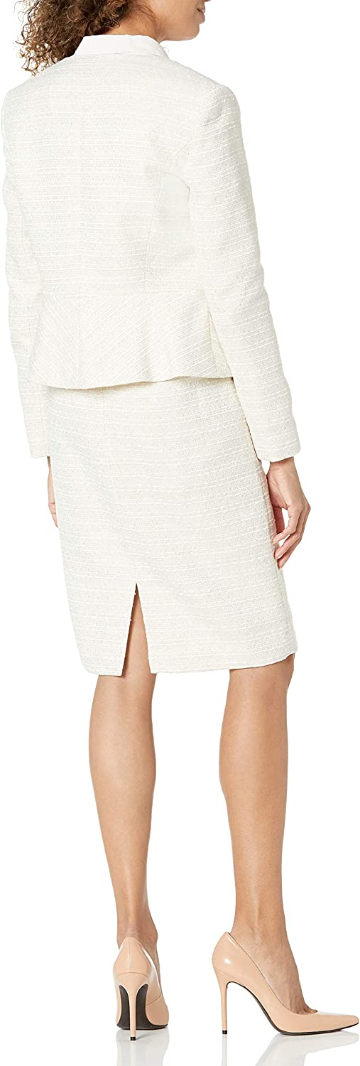 Tahari By ASL Womens Faux Double-Breasted Peplum Jacket and Skirt Set Suit Skirt Set