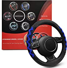 NICEASY Universal Fit 15 inch Leather Steering Wheel Cover,Fashionable Breathable,Anti-Slip,Comfortable (Blue)
