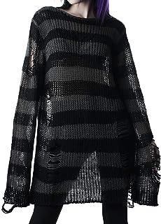 Goth Stripe Suéter Jersey Jersey Punto Top Punk Rave Ropa Para Mujeres Rasgado Agujero De Gran Tamaño Más Largo Grunge Jer...