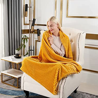 """Furnina Throw Blankets for Couch,Sofa,Bed - Flannel Fleece Blanket Throw Size (51""""x63"""") Mustard Yellow- Super Soft Fu"""