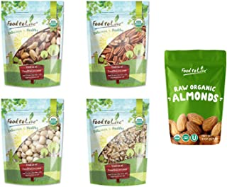 Organic Heart Healthy Nuts in a Gift Box - A Variety Pack of Pecans, Macadamia Nuts, Almonds, Walnuts and Brazil Nuts