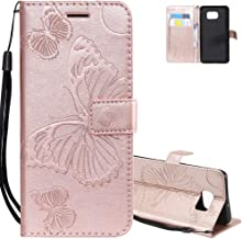 EMAXELER Samsung Galaxy S7 Edge Case Shockproof PU Leather Retro 3D Butterfly Embossed Wallet Flip Case Magnetic Stand with Card Slot Folio Cover for Galaxy S7 Edge Butterfly Rose Gold KT