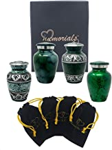 Forever in Our Hearts Classic Keepsake Urns Set of 4 - Beautiful Shades of Mini Keepsakes - Keepsake Urns - Token Urns - Handcrafted & Affordable Mini Urns for Ashes with 4 Velvet Bags (Green)
