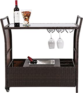 Peach Tree Outdoor Patio Wicker Serving Bar Cart on Wheels with Stainless Ice Bucket PE Rattan Portable Wine Rack Kitchen Trolley Cart