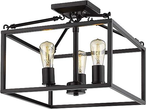 discount Golden online Lighting online 2072-SF BLK Wesson Semi-Flush, Black online