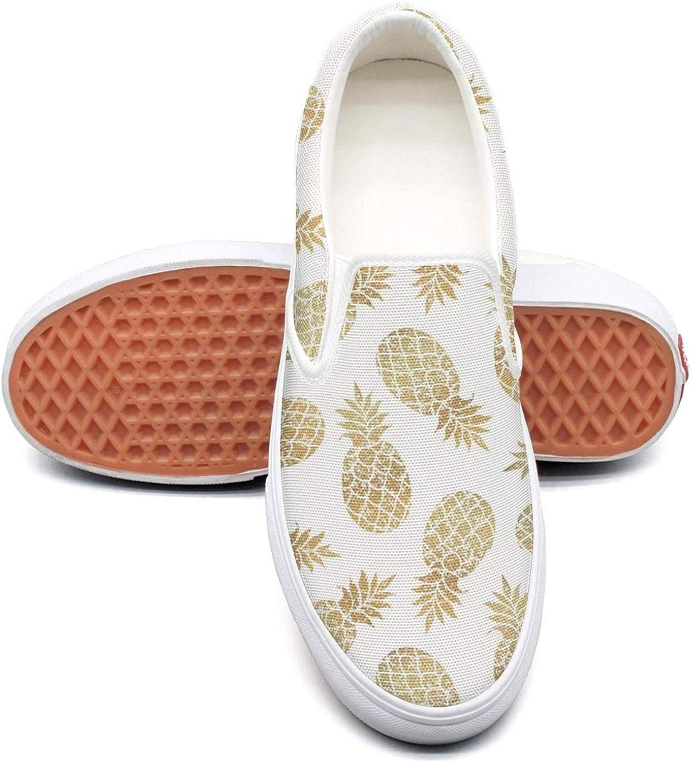 Refyds-es gold Pineapple Cartoon Pattern Womens Fashion Slip on Low Top Lightweight Canvas Sneakers shoes