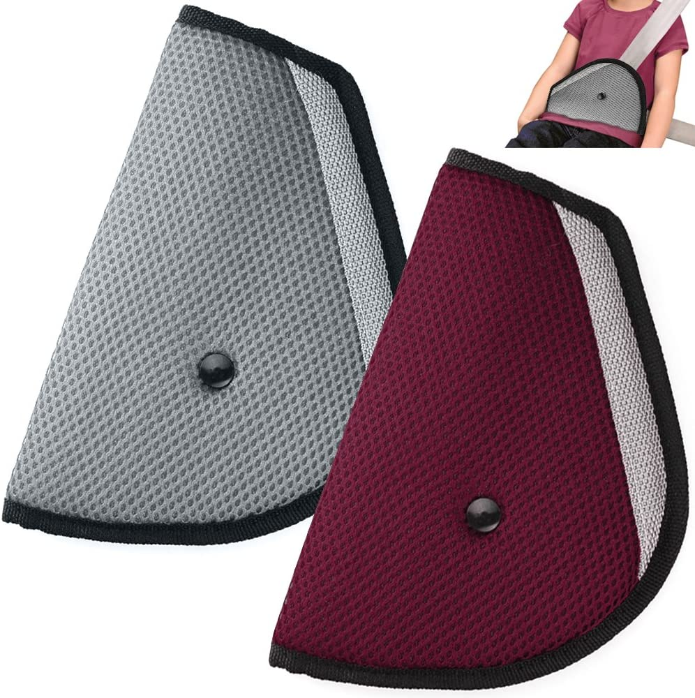 Kids Seatbelt Adjuster Set of 2, maxin Child Seat Belt Safter Covers - (Red and Grey)