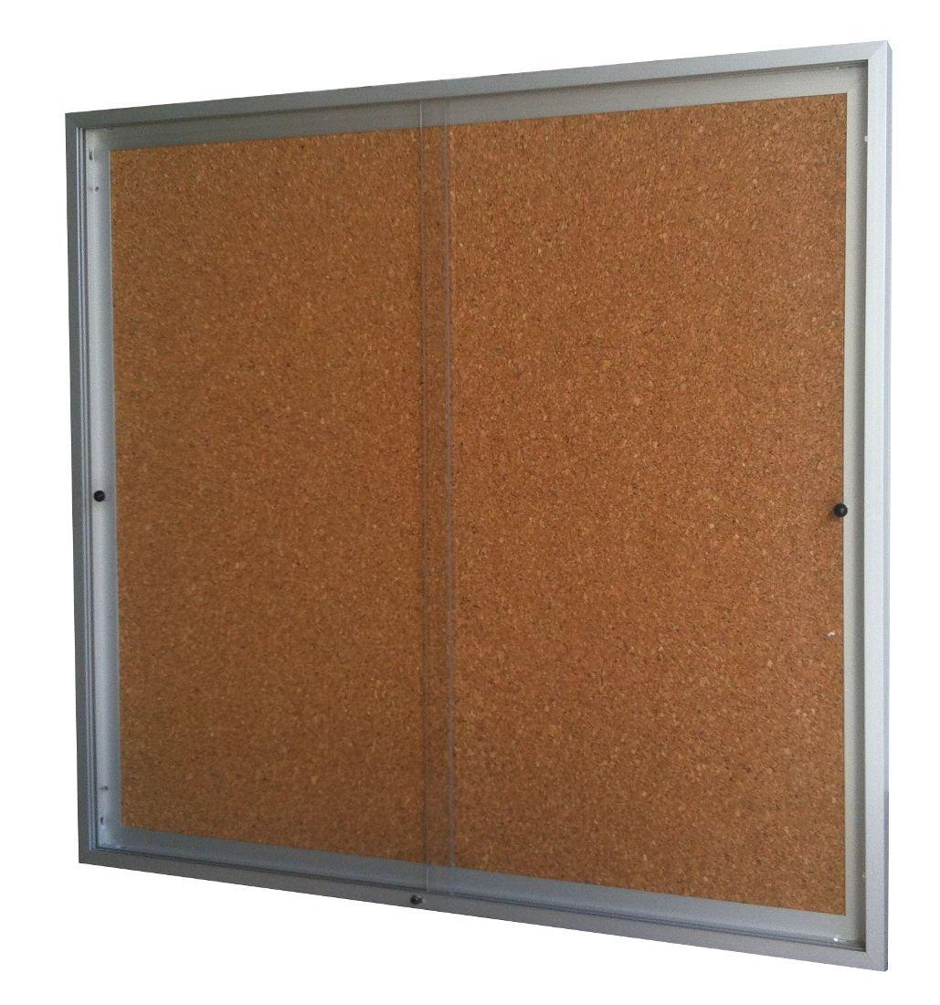 Vitrina de anuncios para 8 tamaños A4 de puertas correderas fondo corcho altura 68 cm x Ancho 94 cm: Amazon.es: Oficina y papelería