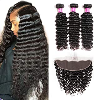 Mureen Brazilian Deep Wave Human Hair 3 Bundles With Frontal Closure 13x4 Ear to Ear Lace Frontal With Bundles 100% Virgin Unprocessed Human Hair Extensions Natural Color (16 18 20+14 Frontal)