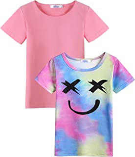 Arshiner Kids 2 Pack Short Sleeve Tees Girls Cotton Tees 2pcs Shirt for Tie Dye