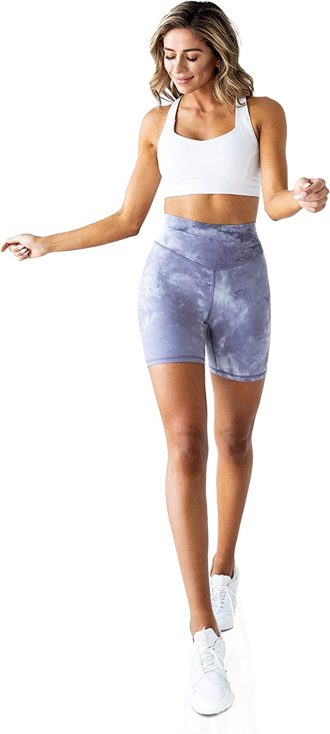 Kamo Fitness High Waisted Yoga Shorts 6 Inseam Butt Lifting Tie Dye Soft Workout Pants Tummy Control