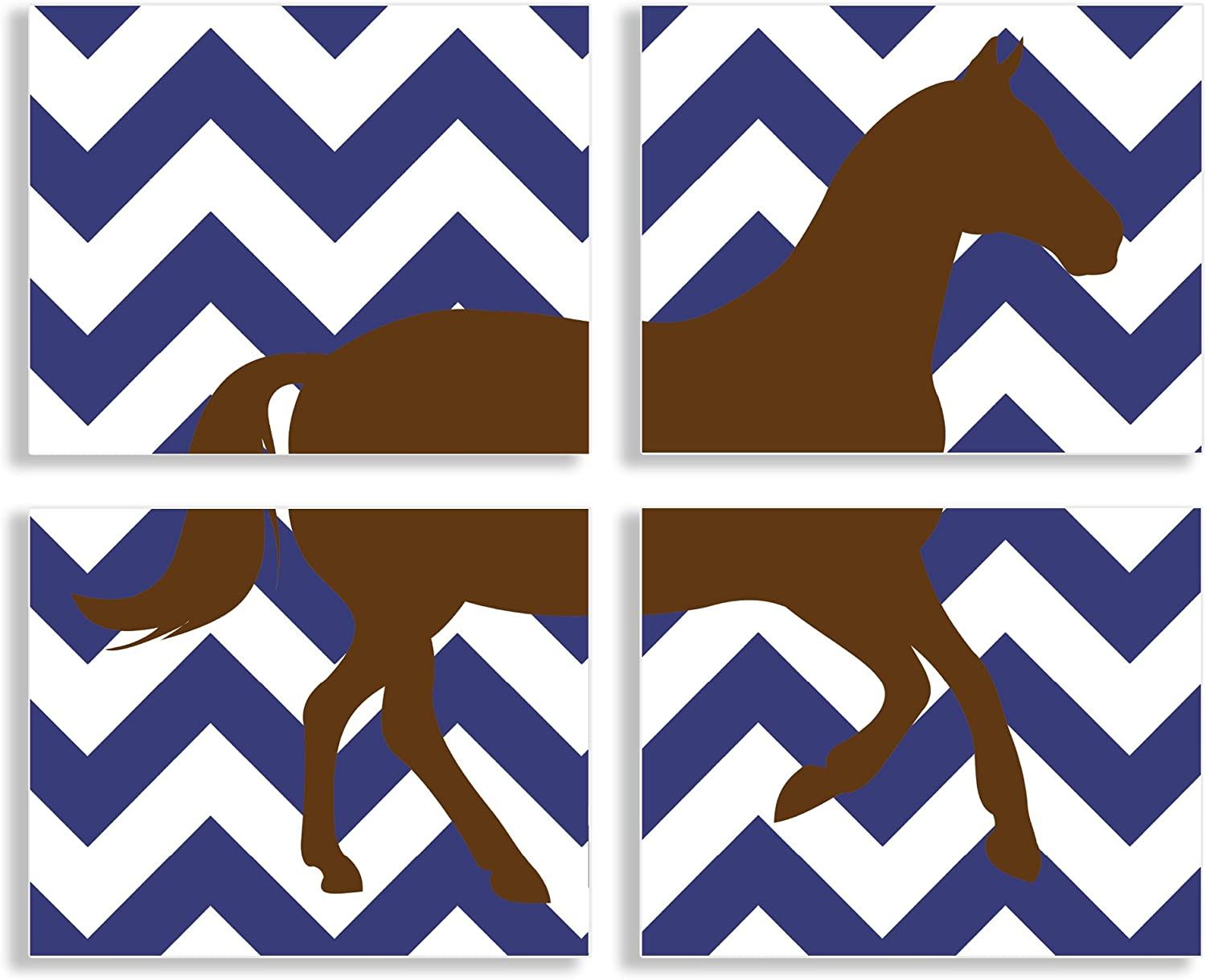 The Kids Room by Stupell Brown Horse Silouhette on Navy bluee Chevron 4Pc Rectangle Wall Plaque Set
