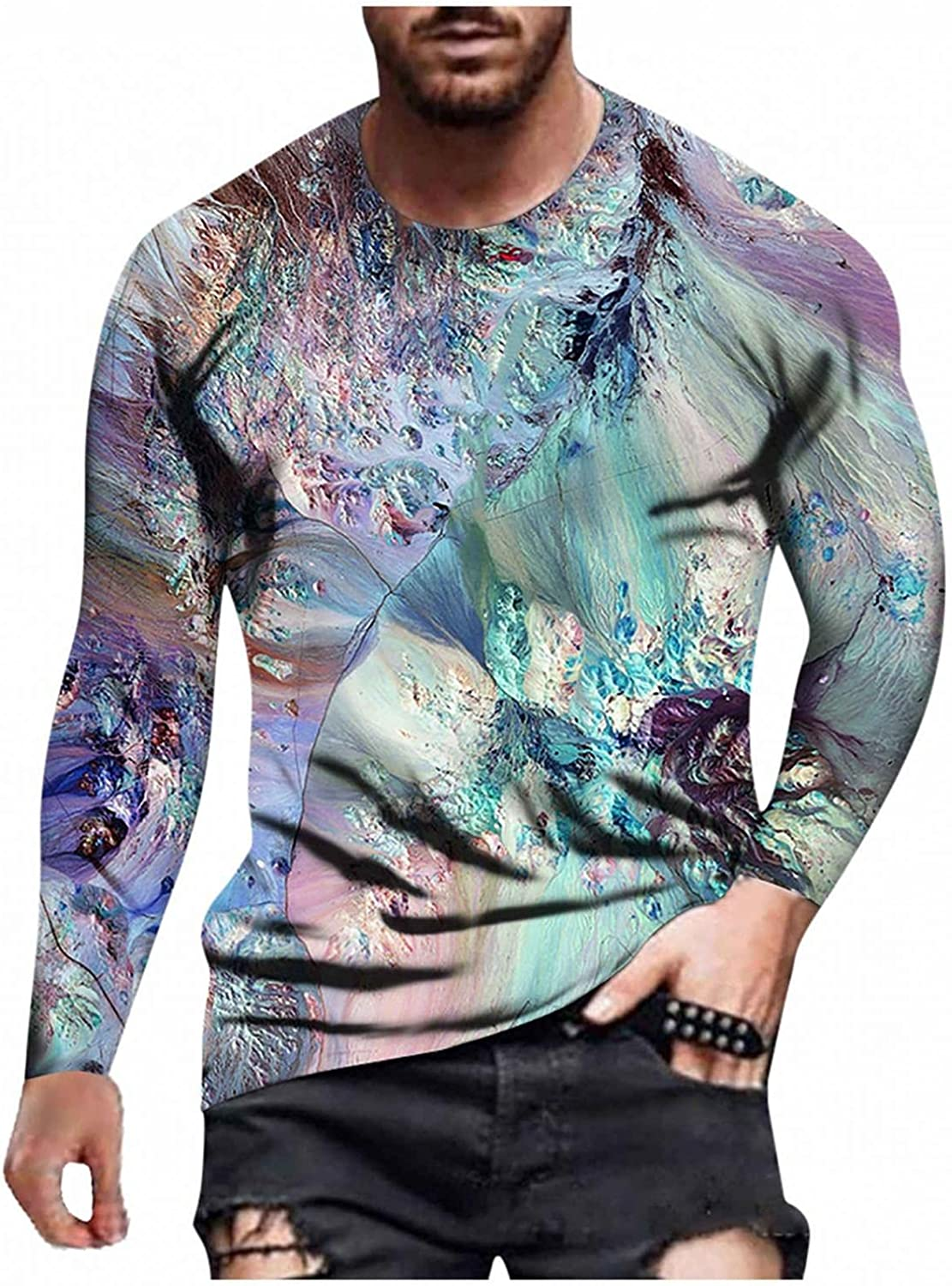 Aayomet T-Shirts for Men Fashion Printed Crewneck Long Sleeve Sweatshirts Casual Workout Sport Tops Tee Shirts Blouses