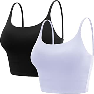 BQTQ 2 Pcs Padded Sports Bra Women Crop Camisole Tank Workout Fitness Crop Tops