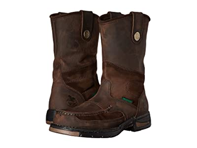 Georgia Boot Athens Moc Toe/Steel Toe Wellington Boot (Brown) Men