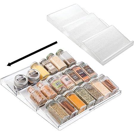 mDesign étagère à épices à 3 Niveaux (Lot de 2) – Range épices Extensible en PVC pour Le tiroir de Cuisine – Rangement de tiroir pour épices, Condiments, aromates, etc. – Transparent