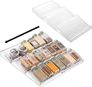 mDesign étagère à épices à 3 Niveaux (Lot de 2) – Range épices Extensible en PVC pour Le tiroir de Cuisine – Rangement de ...
