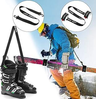 Ski Snowboard Boot Carrier Strap Ski Pole Carriers Strap Ice Skates Shoulder Sling Leash Adjustable Shoulder Strap Downhill Skiing Back Country Gear for Man Woman Kids Families